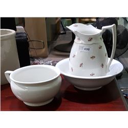 3 PC ANTIQUE JUG, BOWL, AND CHAMBERPOT SET