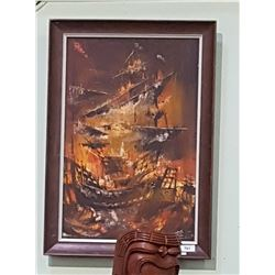 VINTAGE FRAMED OIL ON CANVAS OF SHIP BATTLE