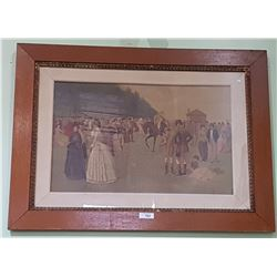 ANTIQUE FRAMED PRINT OF HORSE RACING