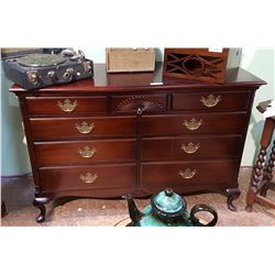 ANTIQUE MAHOGANY 9 DRAWER DRESSER