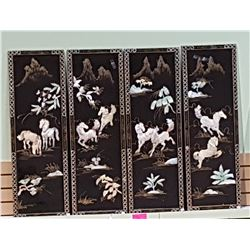 4 ASIAN BLACK LACQUER PANELS