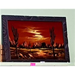 VINTAGE FRAMED VELVET OAINTING OF A DESERT SUNSET