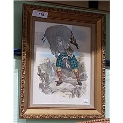 GUILT FRAMED VINTAGE ANTIQUE SCOTTISH PRINT OF MAC RAE