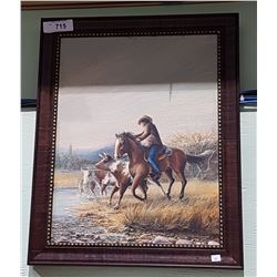 FRAMED OIL ON CANVAS OF COWBOY ROUNDING UP CATTLE SIGNED