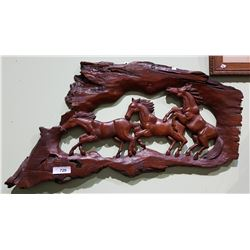 CARVED WOOD WALL PLAQUE OF GALLOPING HORSES