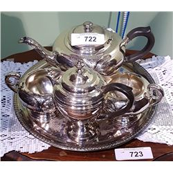 5 PC SILVER PLATE TEA SET
