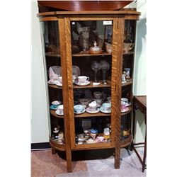 QUARTER SAWN OAK DOUBLE CURVED GLASS DISPLAY CASE