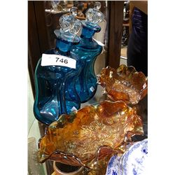 ART GLASS DECANTER AND CARNIVAL GLASS DISH