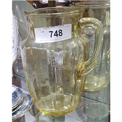 YELLOW DEPRESSION GLASS PITCHER