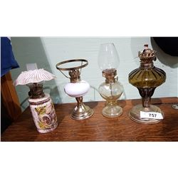 4 SMALL VINTAGE OIL LAMPS