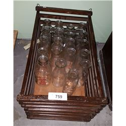 VINTAGE WOOD CRATE W/APPROX 21 VINTAGE MILK BOTTLES