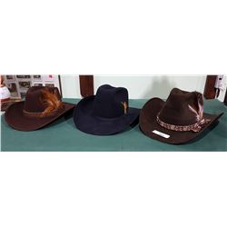 3 VINTAGE COWBOY HATS BY LANNING