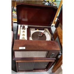 VINTAGE V-M MODEL 56 PHONOGRAPH ON RECORD CABINET