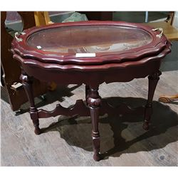 ANTIQUE MAHOGANY OCCASIONAL TABLE W/SERVING TRAY