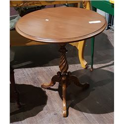 ANTIQUE OCCASIONAL TABLE W/HIGHLY CARVED BASE