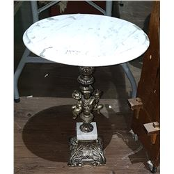 MARBLE TOP OCCASIONAL TABLE W/ORNATE BRASS BASE