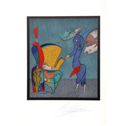 Mihail Chemiakin, Untitled I from Carnival of St. Petersburg Suite, Lithograph