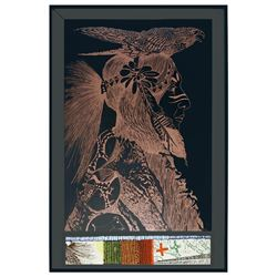 Donald Evvy Crouch, Hawk Dancer, Embossed Serigraph