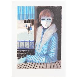 Charles Levier, Girl in Blue, Lithograph
