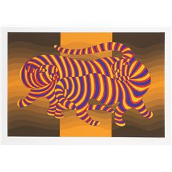 Victor Vasarely, Two Tigers on Gold, Screenprint