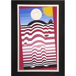 Victor Vasarely, Sunbather, Screenprint with Silver