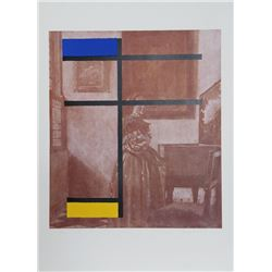 George Deem, Mondrian with Vermeer, Lithograph with Silkscreen