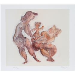 Chaim Gross, Playing Mother, Lithograph