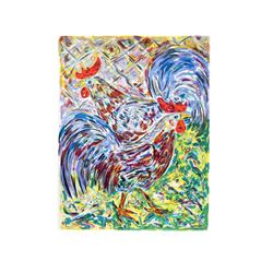 Amos Yaskil, Roosters, Lithograph
