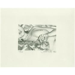 Jerry Ott, Nude with Goldfish, Etching