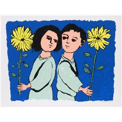 Frank Kleinholz, Twins with Flowers, Serigraph