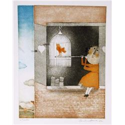 Christine Amarger, Flautist and Red Bird, Aquatint Etching