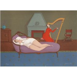 Branko Bahunek, Lounging with Harp, Lithograph