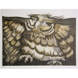 Victor Delfin, Old Owl, Lithograph