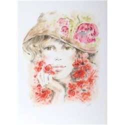 Colette Darfeuil, Portrait of a Girl in Hat, Lithograph