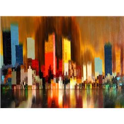 James Sherman, Cityscape with Reflection, Oil Painting