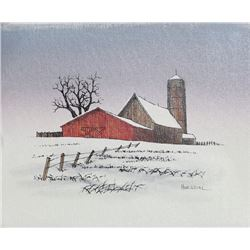 H Hargrove, Barn in Winter, Oil Painting