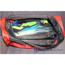 Bag of Scuba Gear - Flippers (3 pair), Goggles (2), Water Shoes, 2 Snorkels