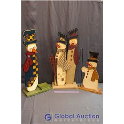 "3 Piece Set of Wooden Decorative Snowmen Approx 30"" and 24"" high"