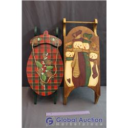 2 Hand Painted Decorative Wooden Sleds