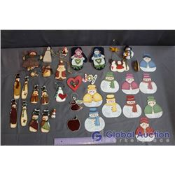 Lot of Hand Painted Christmas Ornaments - Wood, Metal & Stained Glass (33)