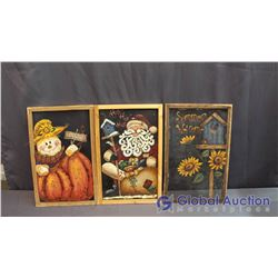 3 Hand Painted Screen Home Decor Hangings