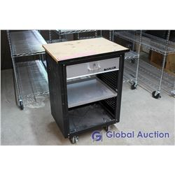 Black Rolling Work Table