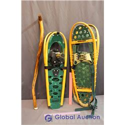 (2) Pairs of Snow Shoes  w/Walking Stick