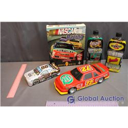 Quaker State, Pennzoil Motor Oil, WIN95 Racing Game, Quaker State Model Car & Tin