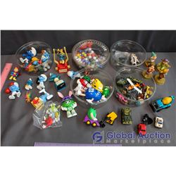 Lot of Misc Toys (Smurfs, M&Ms, Marbles, Cars, Disney)