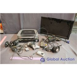 Box of Misc Electronics (Security Cameras, Monitor)
