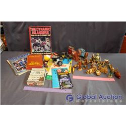 Box of Misc Toys and Items (Vintage Magazines, Pogs, Nativity Set)