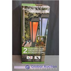 NIB Paradise Solar Torch Lights - Color Changing LED with Remote Control (2 Lights in Box)
