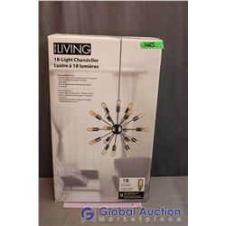 NIB Decor Living 18-Light Chandelier - Includes all 18 Bulbs Plus 9 Spare Vintage-Look Spiral Bulbs