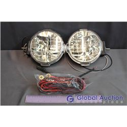 "Unused PIAA 7"" LP570 White LED Driving Light Kit - Wiring/Switch Included, Missing Offroad PIAA Cove"